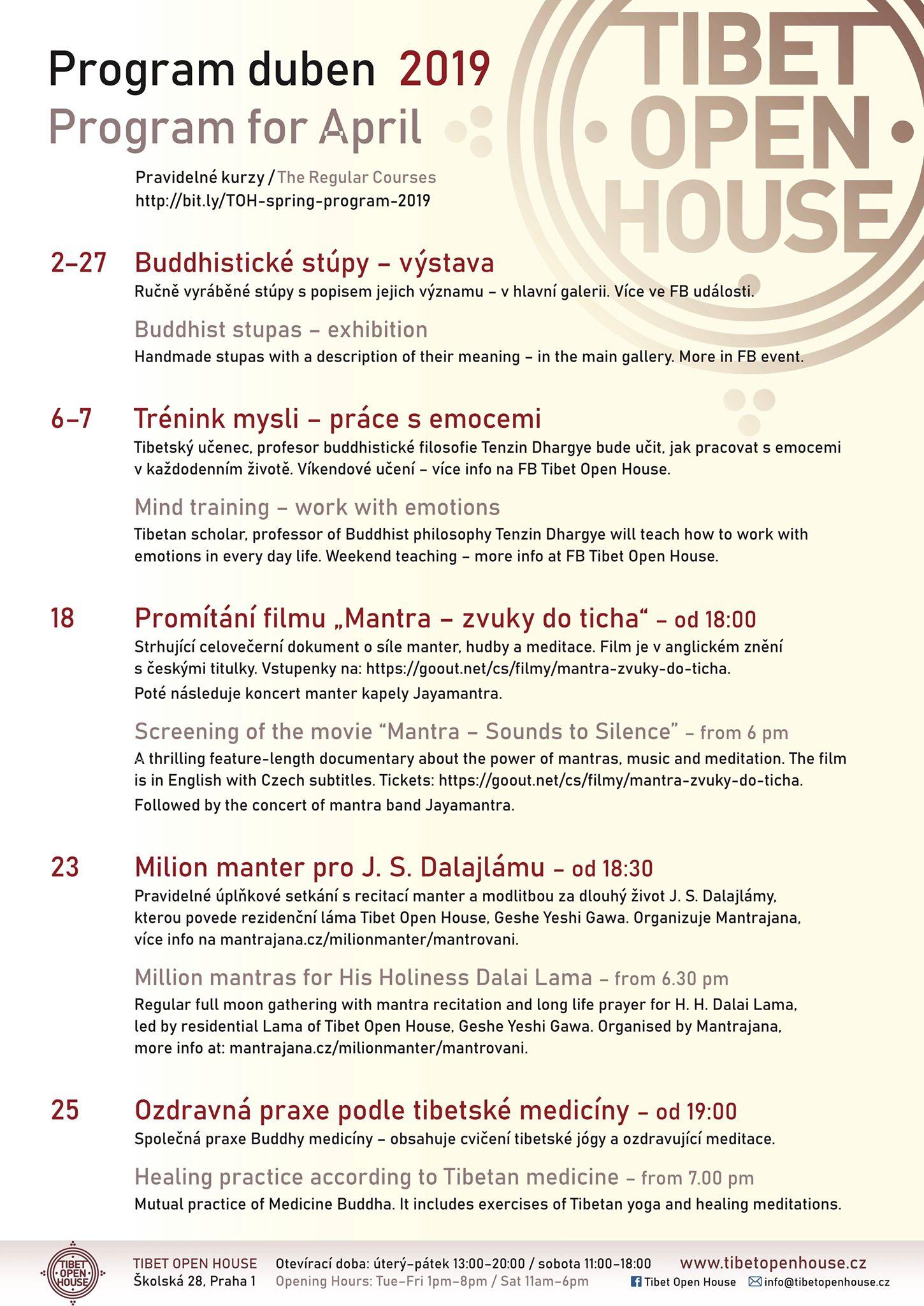 Program na duben- Tibet Open House