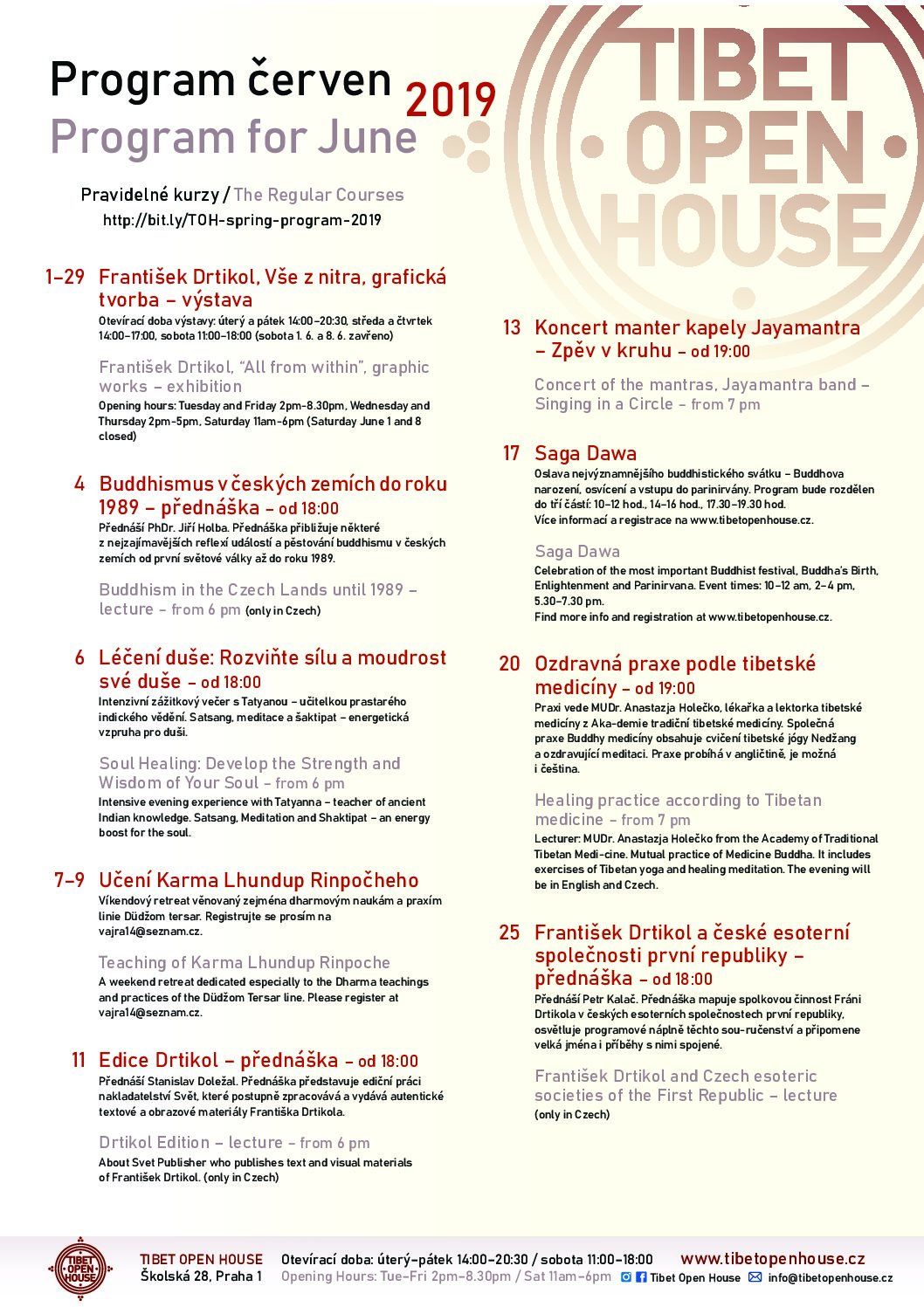 Program na červen TIBET OPEN HOUSE