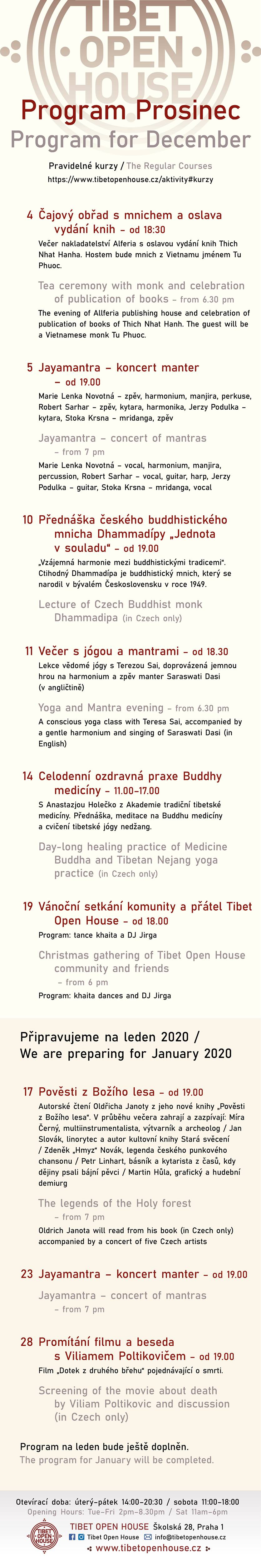 PROGRAM Prosinec Tibet Open House